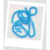 Бусина - рондель хрустальная граненая голубая 6 мм х 4 мм. Упаковка - 50 шт. (id:160100)