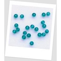 Бусина - хрустальная граненая, круглой формы, цвет морской волны, 4 мм,  Упаковка -55 шт. (id:160105)