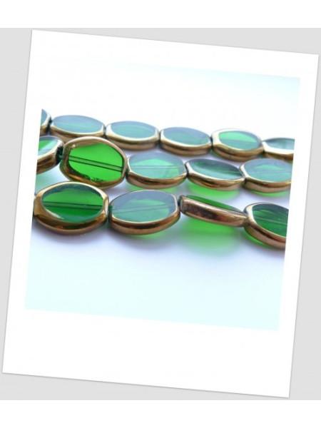 Бусина стеклянная овальная полупрозрачная с золотистым покрытием, 17 х 14 мм, упаковка - 5 шт. (id:150022)