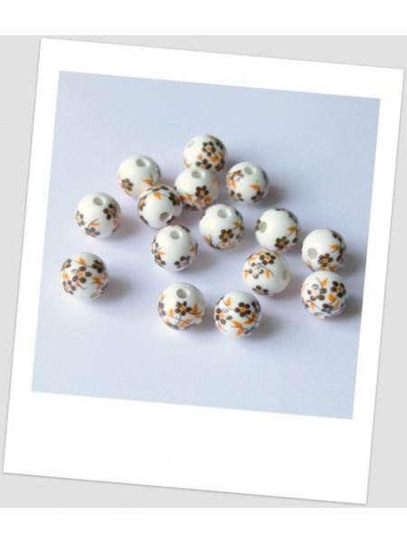 Бусина керамическая белая с бежево-коричневым узором 12мм. Упаковка - 6 шт. (id:130024)