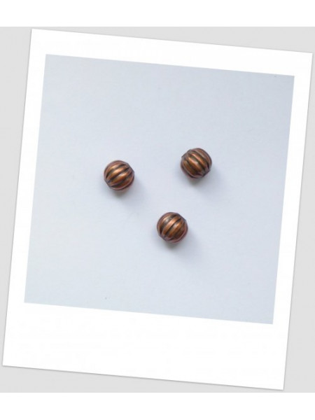 Бусина  металлическая круглая рельефная, цвет медный, 8 мм Упаковка -20 шт. (id:140026)