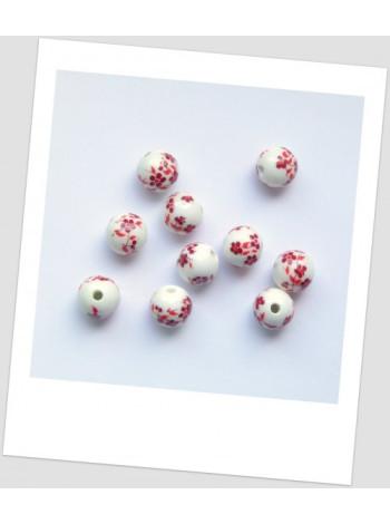 Бусина керамическая с узором, белый с красным, 12 мм. Упаковка - 10 шт.