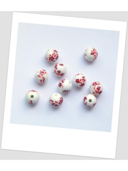 Бусина керамическая с узором, белый с красным, 12 мм. Упаковка - 10 шт. (id:130023)