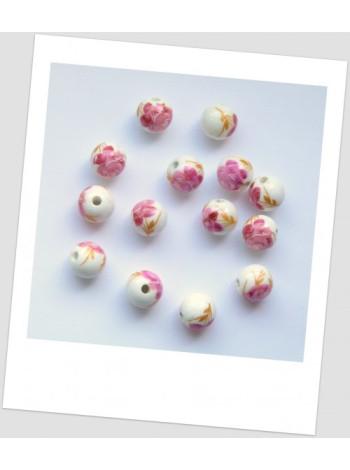 Бусина керамическая белая с узором в розовых тонах 12мм. Упаковка - 177 шт!