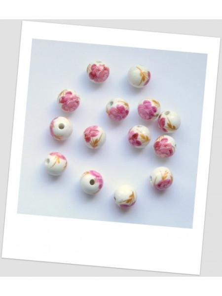 Бусина керамическая белая с узором в розовых тонах 12мм. Упаковка - 10 шт. (id:130025)
