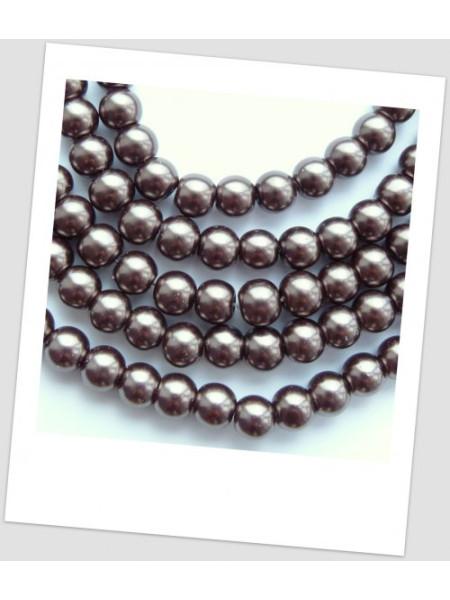 Низка бусин стеклянных окрашенных, 8 мм, цвет кофейный, примерное кол-во в низке - 110 шт. (id:160045)