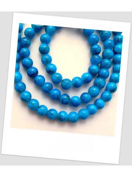 """Бусина стеклянная """"мраморная"""" насыщенно-синего цвета, 10 мм (id:160041), упаковка - 30 шт."""