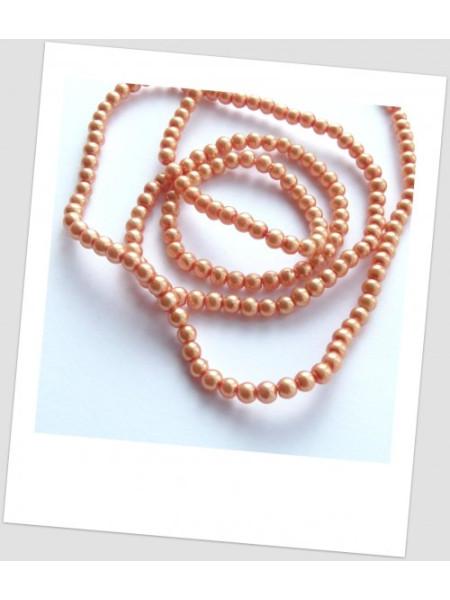 Низка бусин стеклянных окрашенных, цвет оранжевый, 4 мм (примерно 220 шт.) (id:160059)