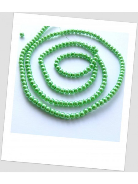 Низка бусин стеклянных окрашенных, светло-зелёный, 4 мм (примерно 220 шт.) (id:160057)