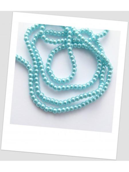 Низка бусин стеклянных окрашенных, голубой, 4 мм (примерно 220 шт.) (id:160058)