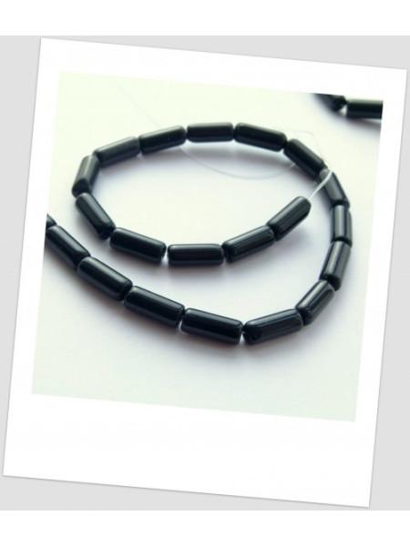 "Бусина стеклянная чёрная, форма ""тубус"", 15х6 мм. (id:160052), упаковка - 30 шт."