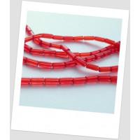"Бусина стеклянная полупрозрачная красная, форма ""тубус"", 10х4 мм , упаковка - 20 шт.(id:160049)"