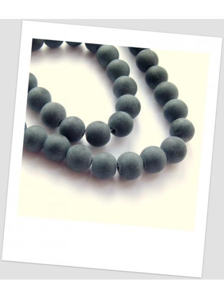 Бусина стеклянная полупрозрачная матовая, 10 мм, цвет чёрный , упаковка - 30 шт.(id:160051)