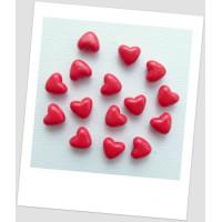 Бусина пластиковая в форме сердца. Бусина сердечко, цвет красный, 10х11 мм (id:170012)