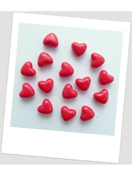 Бусина пластиковая в форме сердца. Бусина сердечко, цвет красный, 10х11 мм, упаковка - 12 шт. (id:170012)