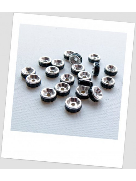 Бусина-разделитель, рондель, серебро с чёрными стразами, 8 мм, упаковка - 20 шт. (id:440001)