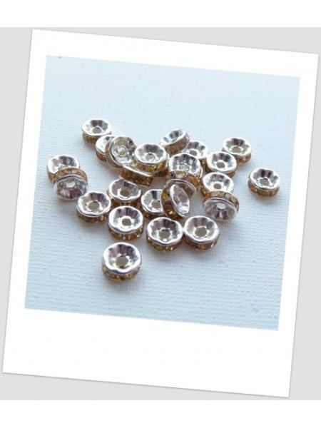 Разделители для бусин, рондели, цвет серебряный с кристаллами шампань, 8 мм, упаковка - 23 шт.  (id:440003)