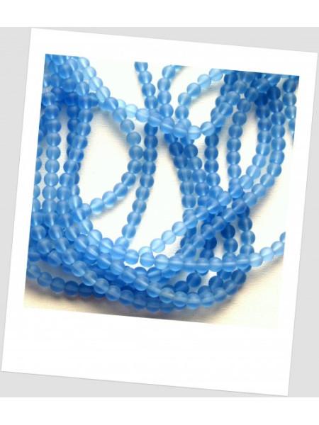 Бусина стеклянная полупрозрачная матовая круглая голубая 6 мм, упаковка - 20 шт. (id:160095)