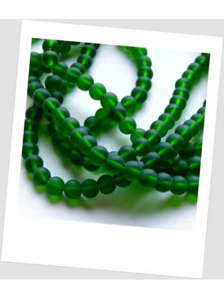 Бусина стеклянная полупрозрачная матовая круглая, зеленая бутылочного цвета 8 мм, упаковка - 30 шт. (id:160094)