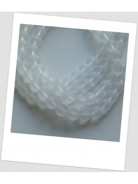 Бусина стеклянная полупрозрачная матовая круглая голубелая 10 мм , упаковка - 30 шт.(id:160096)