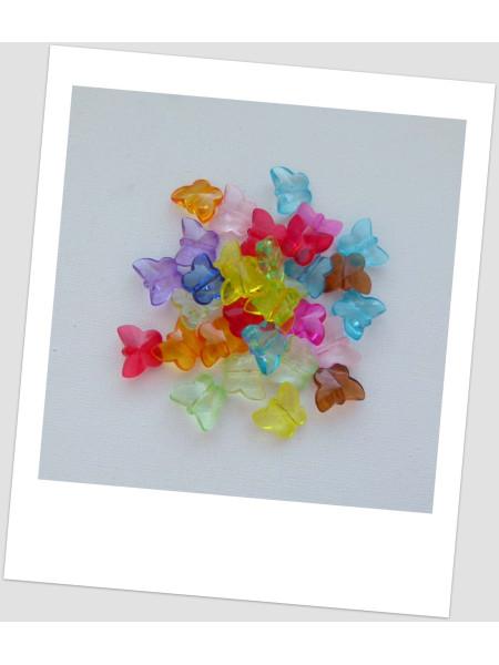 Бусины - бабочки пластиковые, микс, размер 14 х 12 мм, упаковка - 32 шт. (id:170004)