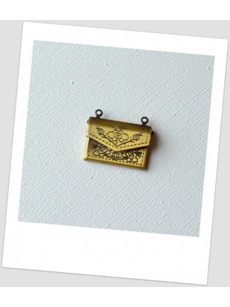 Подвеска металлическая подвеска в виде сумочки (конверта), цвет бронзовый, 22x17 мм. (id:140119)