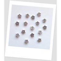 Бусина металлическая двухсторонняя в форме цветочка, цвет стальной, 9 мм, упаковка - 10 шт. (id:140113)