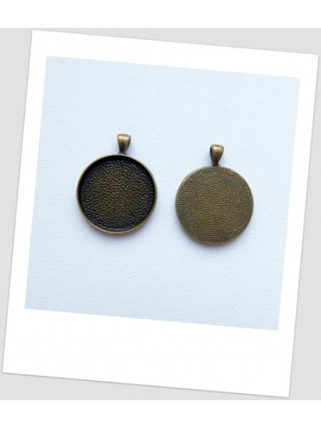 Металлическая подвеска - основа под кабашон в бронзовом цвете, 4.2x3.3 см. (id:140116)