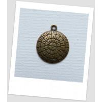 Подвеска металлическая круглая, цвет бронзовый, 19.5 мм. Упаковка - 5 шт. (id:140123)