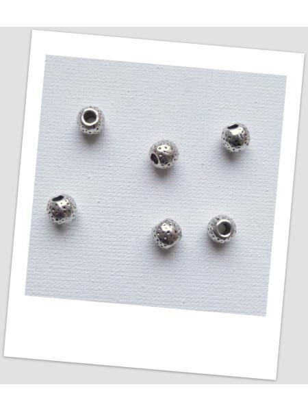 Бусина металлическая рельефная, цвет античное серебро, 6 мм - упаковка 10 шт. (id:140029)