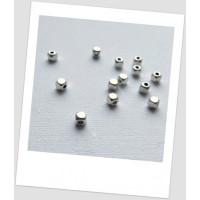 Бусина-разделитель металлическая, миниатюрная, цвет серебряный, 4х4 мм Упаковка - 55 шт. (id:310031)
