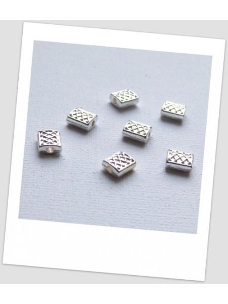 Бусина-разделитель металлическая, прямоугольной формы, цвет: светлое серебро, 7х6 мм,упаковка - 20 шт. (id:310030)