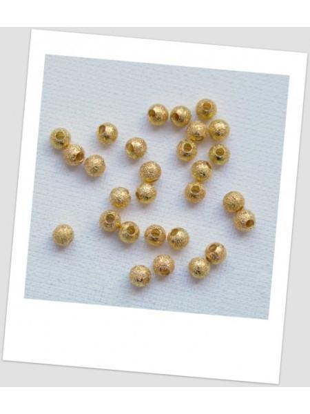 Бусина металлическая с напылением золото 4 мм УПАКОВКА - 55 шт. (id:140028)