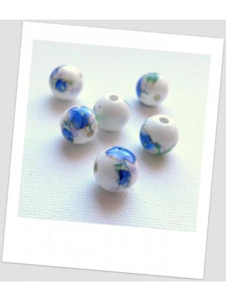 Бусина керамическая белая с сине-зеленым цветочным узором 12мм. Упаковка - 10 шт. (id:130026)