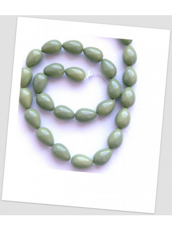 Бусина стеклянная в форме капли, цвет оливковый 15х6 мм, упаковка - 22 шт.