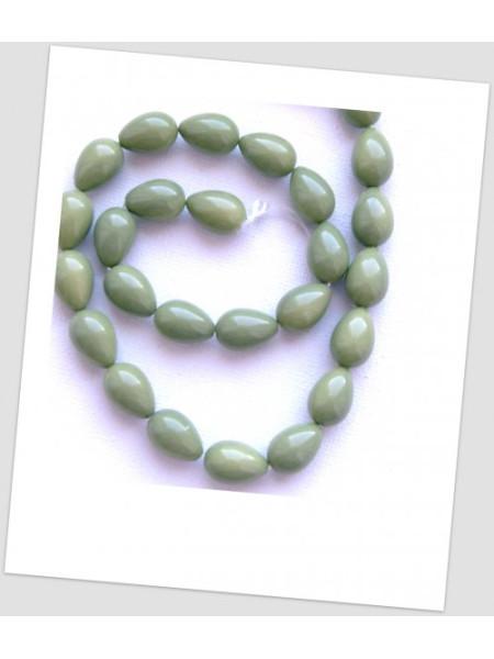 Бусина стеклянная в форме капли, цвет оливковый 15х6 мм, упаковка - 22 шт. (id:160106)