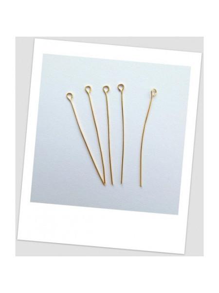 Булавка ювелирная металлическая, цвет: золотой, 50 мм. Упаковка - 100 шт. (id:600004)