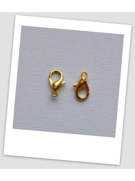 Застёжка карабин лобстер металлический, золотого цвета, 14 х 7 мм. Упаковка - 10 шт. (id:410026)