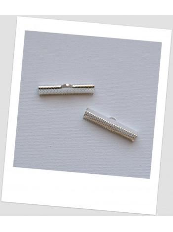 Зажим для лент  крокодильчик металлический, серебристый, 35 x 7,5 mm. - упаковка - 30 шт.