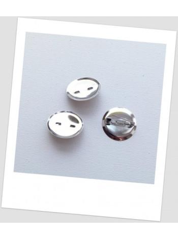 Основа для броши с сеттингом металлическая, стальная, 23 мм (22 мм), упаковка -5шт.