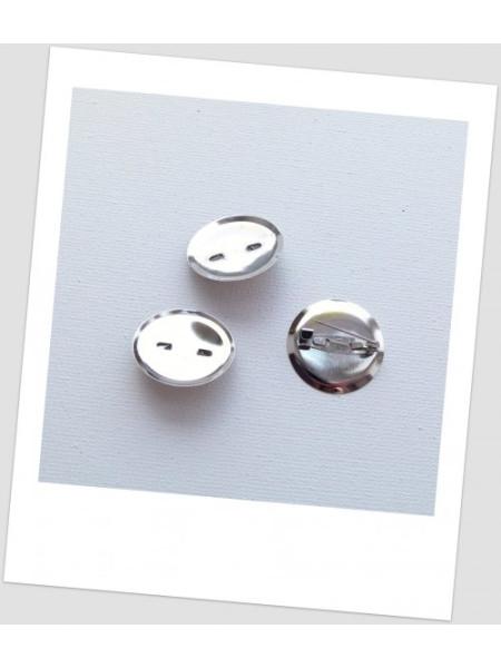 Основа для броши с сеттингом металлическая, стальная, 23 мм (22 мм), упаковка -5шт. (id:290005)