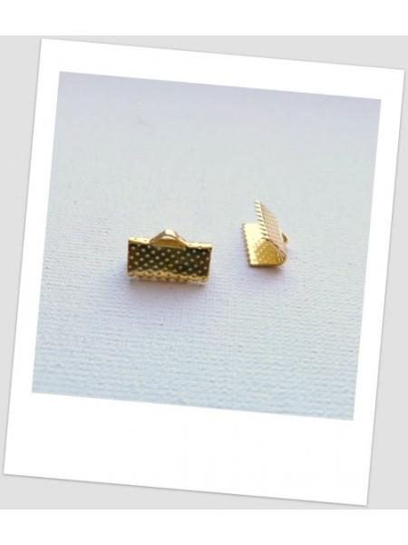 Зажим для ленты металлический золотого цвета 13 х 8 мм. Упаковка -30 шт. (id:270035)