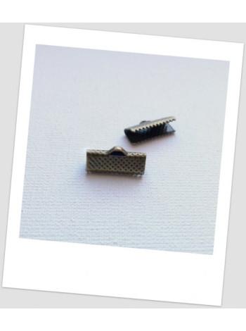 Зажим для ленты металлический бронзового цвета 16 х 7,5 мм. Упаковка - 411 шт!