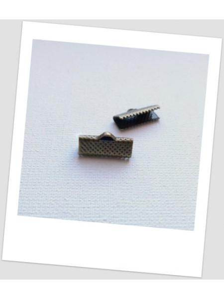 Зажим для ленты металлический бронзового цвета 16 х 7,5 мм. Упаковка - 30 шт. (id:270036)