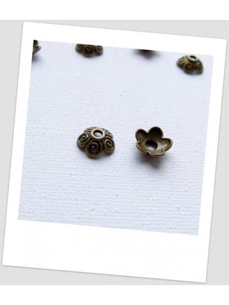 Шапочка для бусины металлическая, цвет: бронзовый, 10 мм. Упаковка - 30 шт. (id:270060)