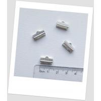 Концевик-зажим для лент металлический, 13х8 мм, цвет серебряный. Цена за упаковку-30 шт. (id:270054)