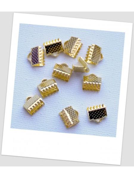 Концевик-зажим для бижутерии металлический, золотого цвета, 6 х 8 мм. Упаковка - 40 шт. (id:270073)