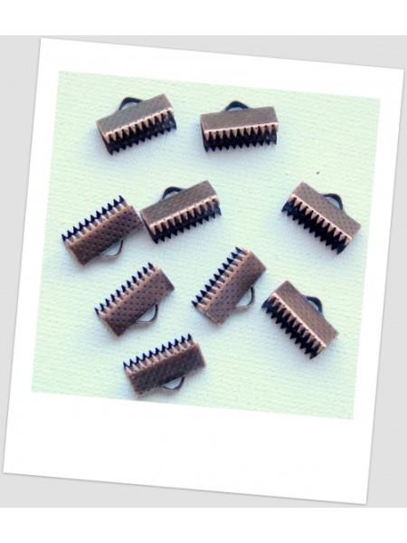 Концевик-зажим для лент металлический, 13х8 мм, цвет медный. Упаковка - 30 шт. (id:270072)