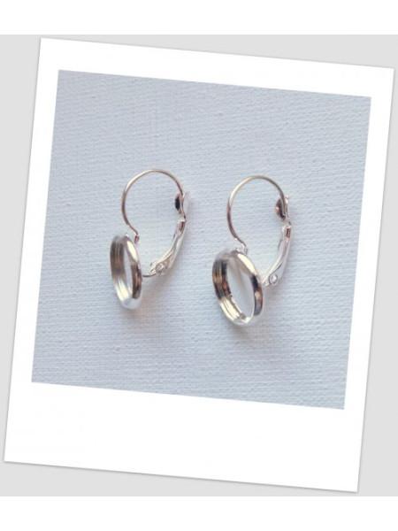 Швензы металлические серебряного цвета с сеттингом, 26х14 мм, Цена за упаковку - 3 пары (id:140018)