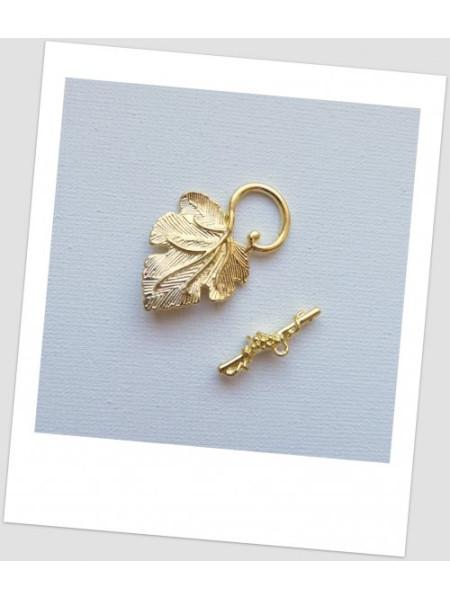 Замочек-тогл в форме листика, цвет золотой. Упаковка - 3 шт. (id:410030)